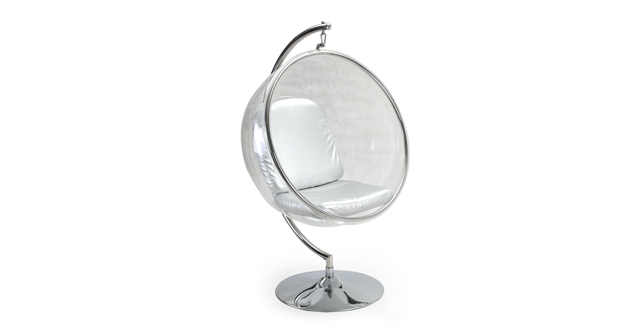 BUBBLE CHAIR WITH STAND Transparent  Silver Cushion