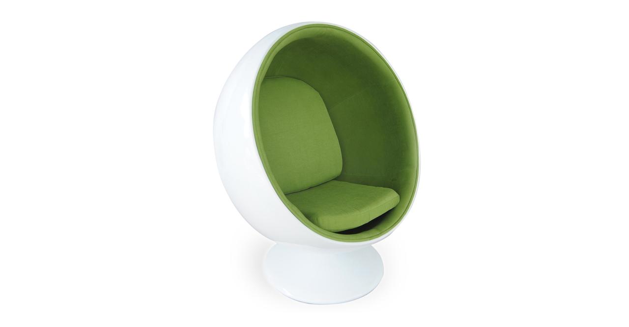 BALL CHAIR White Fiberglass/Green Microfiber retro accent