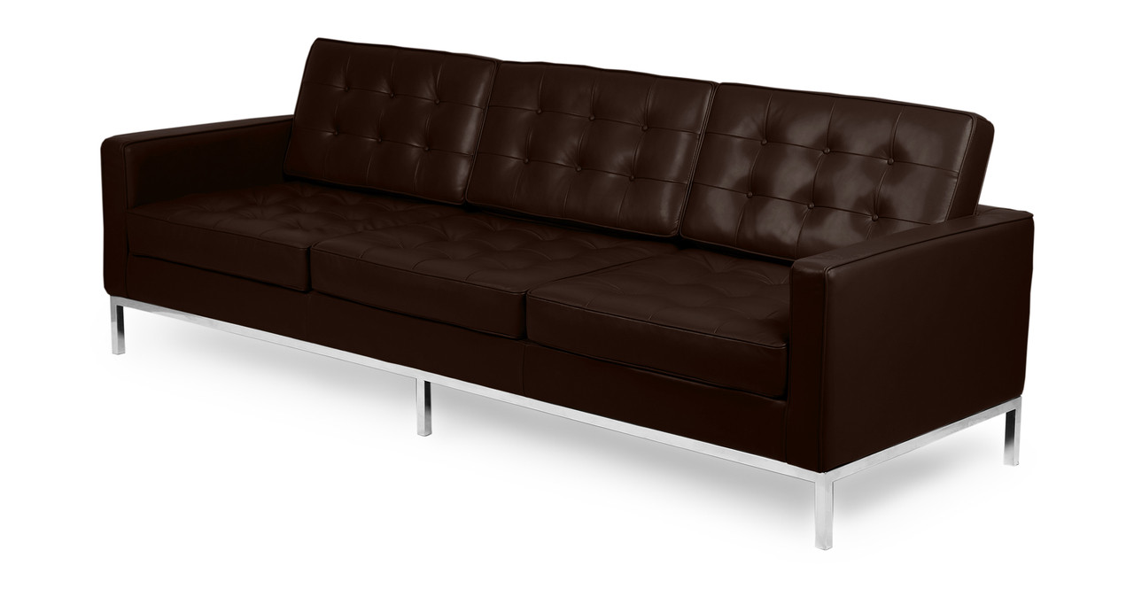 modern brown leather sofa suede cleaning products florence knoll mid century sofas by kardiel png