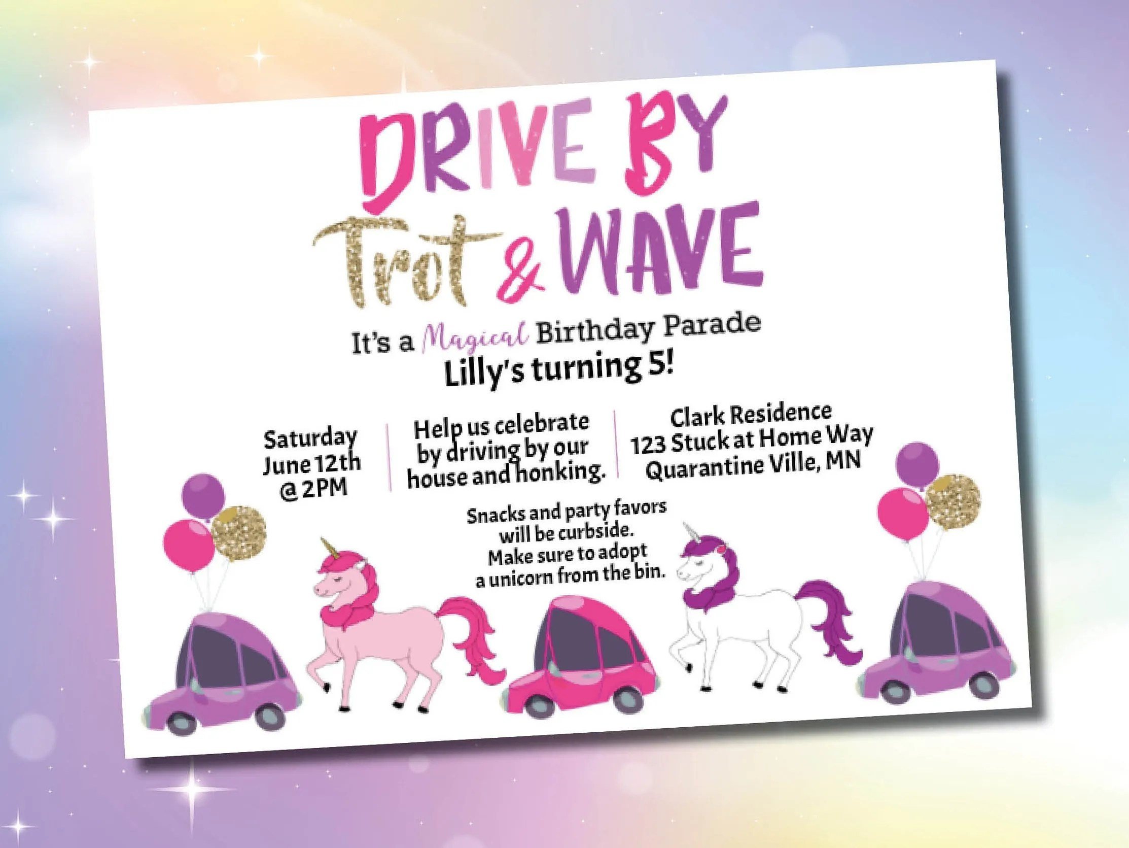 unicorn drive by birthday party parade invitation instant download template social distance celebration