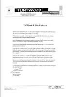 Letter of reference Flintwood Disability Services
