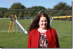 Cllr Karen Bruce at new childrens playground on Wood Lane estate