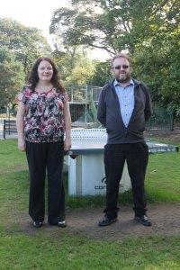 Cllrs Karen Bruce and David Nagle at Rothwell skatepark