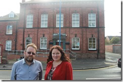 Rothwell Cllrs Karen Bruce and David Nagle at Windmill