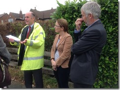 Leeds City Council highways officer, Cllr Richard Lewis, local road safety campaigner Trish Wilson discussing road safety