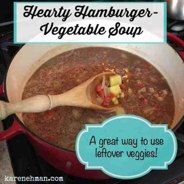 Need a quick and easy soup to feed your gang? This hearty hamburger vegetable soup is a great way to use up leftover veggies. So filling and good!