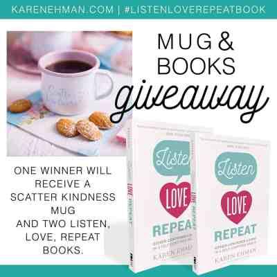 Mug and Listen Love Repeat books giveaway at karenehman.com.