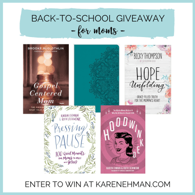 Back-to-school giveaway for moms at karenehman.com.