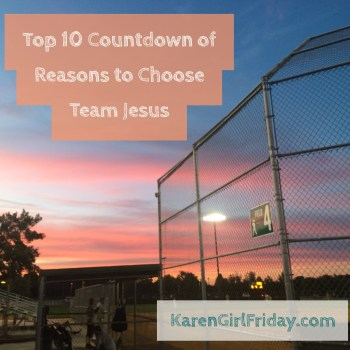 Top 10 Countdown of Reasons to Choose Team Jesus, Adobe Spark design