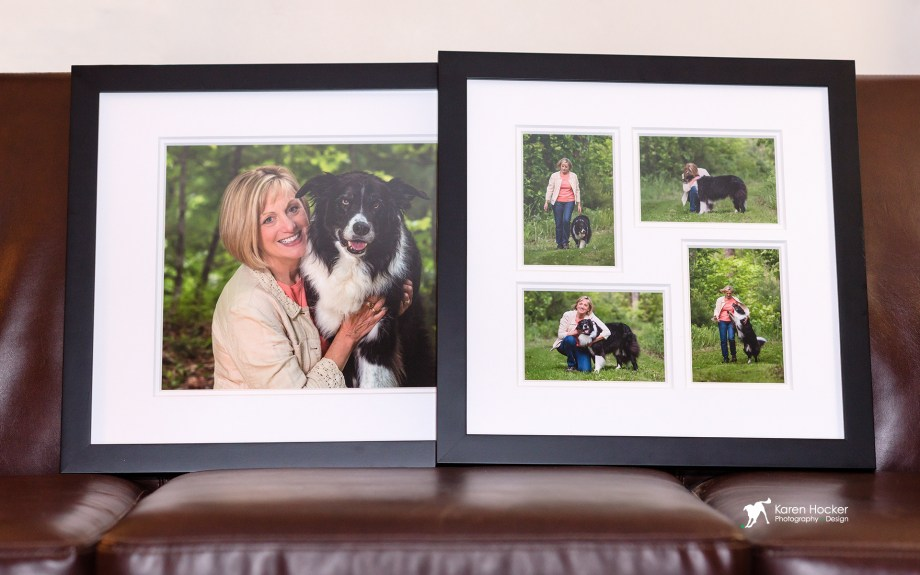 Client's selected photographic prints double-matted in white in simple, black frames