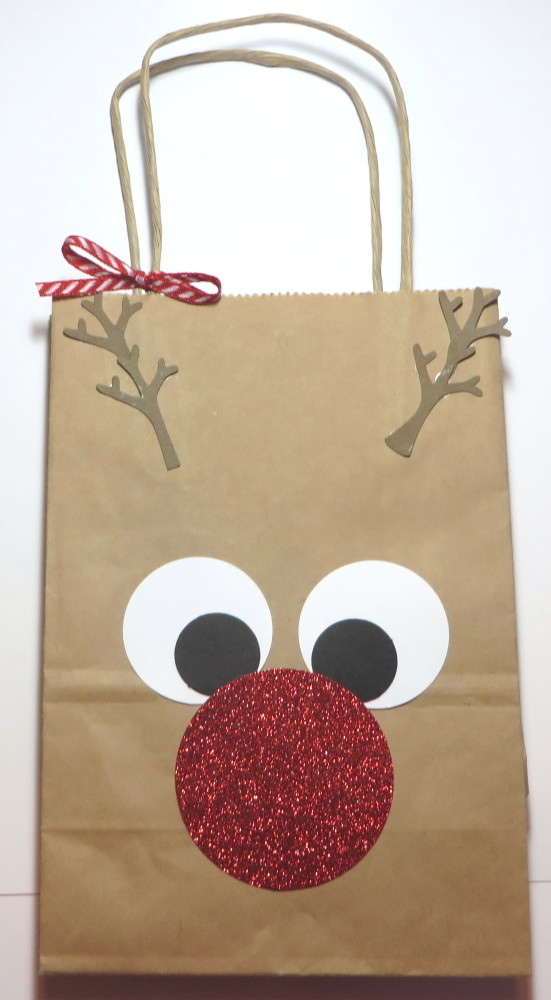 Decorate a Rudolph the RedNosed Reindeer Gift Bag
