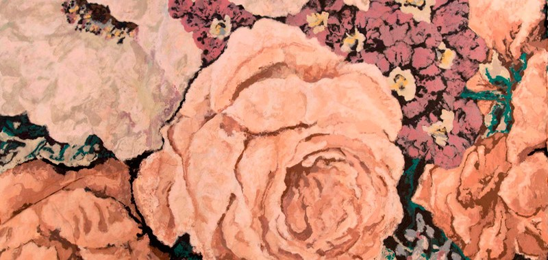 """Karen Stone, """"My dears,"""" the beige rose declared, """"one simply must have a comfortable place to grow!"""", 2011. Cotton and linen fibre, 1.9 x 2.4 metres."""