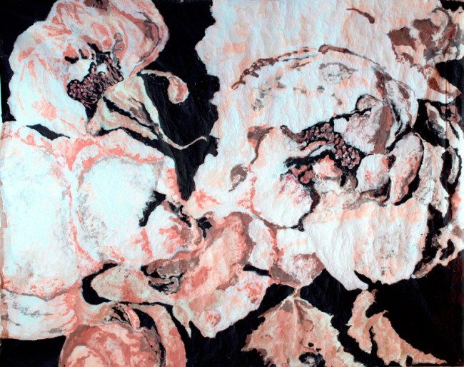 "Karen Stone, ""I'm beginning to fade you know"", the white rose confided, ""and then one simply can't help one's petals getting a little untidy."", 2011. Cotton and linen fibre, 1.9 x 2.4 metres."
