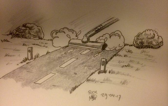 Landschap cartoon gag