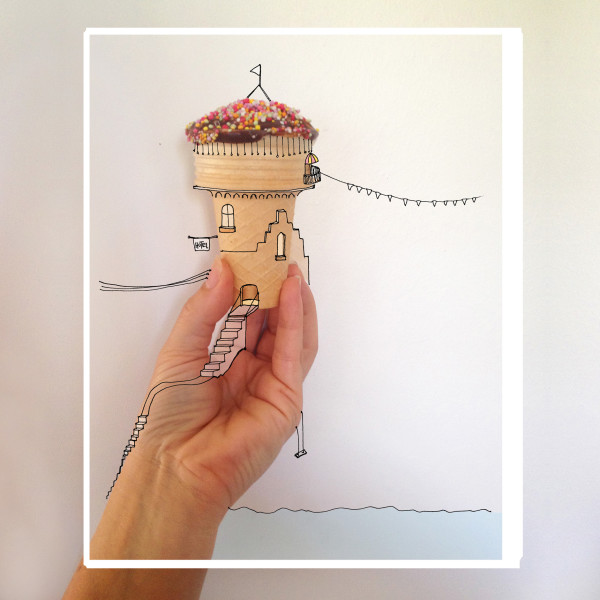 A photo-illustration,draw over, by Karina Sharpe of a small ice cream cone made into a whimsy castle