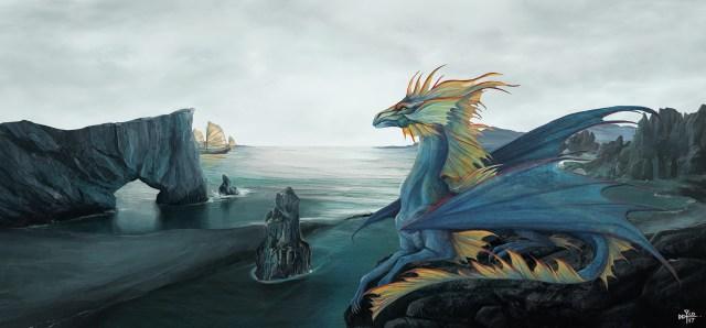 Dragon sur fond de paysage cotier