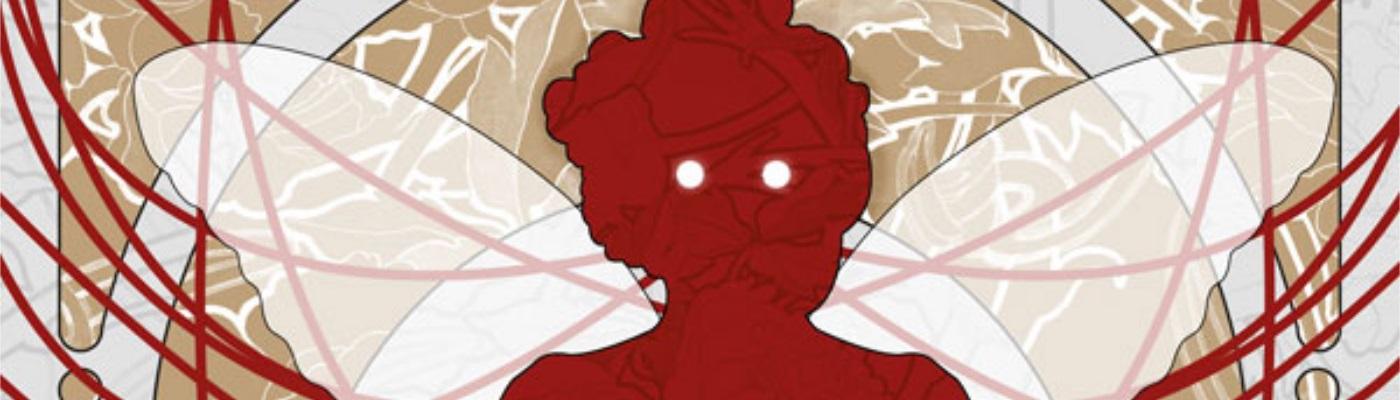 Image décorative : couverture du livre Techno Faerie, présentant la silhouette stylisée d'une fae rouge, sur fond de fleurs blanches et dorées.
