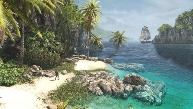 Image décorative : capture du jeu AC Black Flag, montrant le héros dans une crique tropicale, avec son navire en fond.