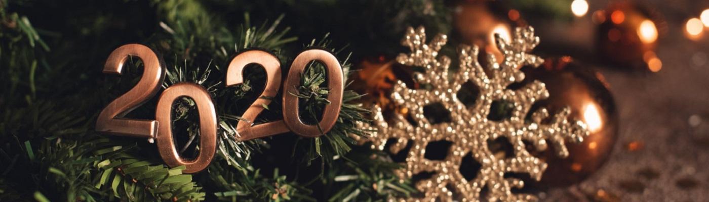 """Image décorative : """"2020"""" en lettre métalliques posées sur une branche de sapin, accompagné d'une étoile et de petites boules de Noël en arrière plan."""