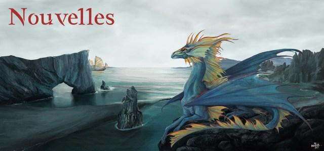 """Bannière de la catégorie """"nouvelles"""". Dragon allongé un rocher, surplomblant un paysage cotier, texte """"Nouvelles"""" écrit dans le ciel."""