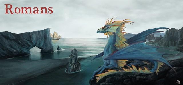 """Bannière de la catégorie """"romans"""". Dragon allongé un rocher, surplomblant un paysage cotier, texte """"Romans"""" écrit dans le ciel."""