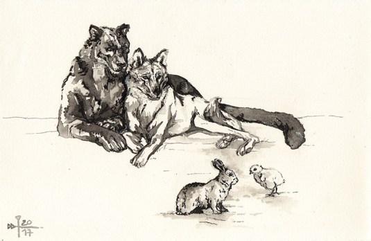 Image décorative : peinture à l'encre noire représentant mes personnages sur une forme animale : un loup appuyé contre le flanc d'une panthère noire, tous deux surveillant un lapin et un poussin.