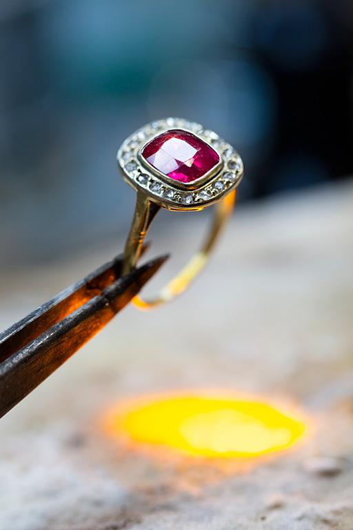 Bague rubis diamant