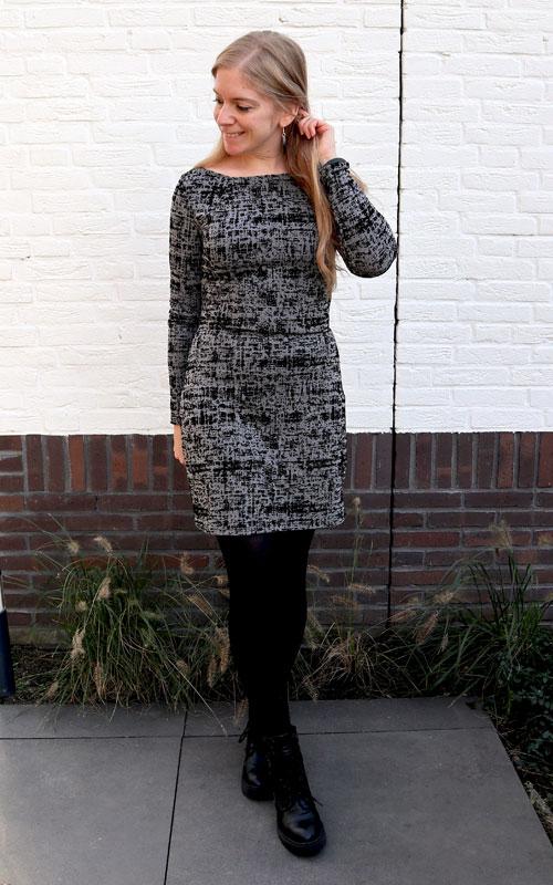 Grijze tricot jurk