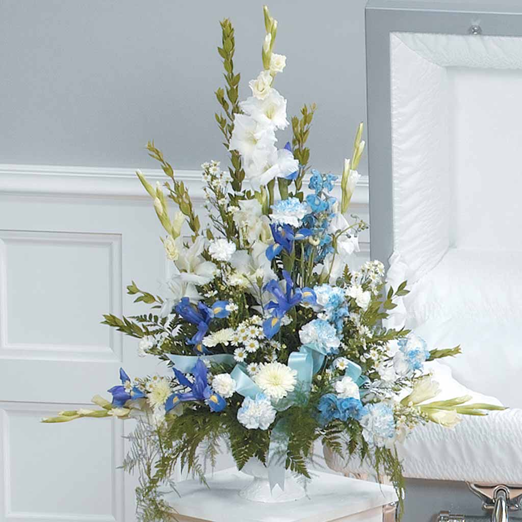 Blue Amp White Funeral Arrangement