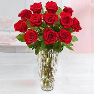 Dozen Premium Red Roses in Upgraded Vase