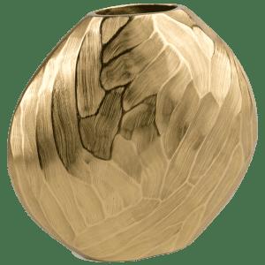 "14"" Aluminum Hammered Gold Vase"