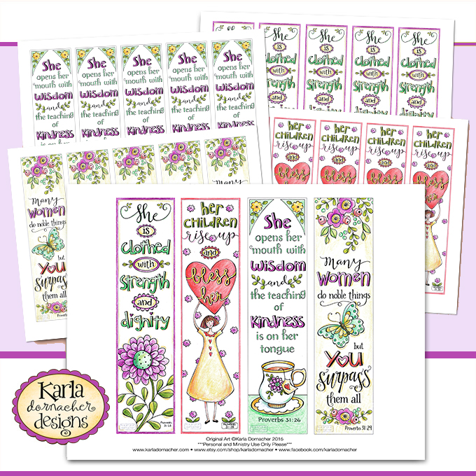 Mother's Day Proverbs 31 Godly Woman Full Color Printable Bookmarks