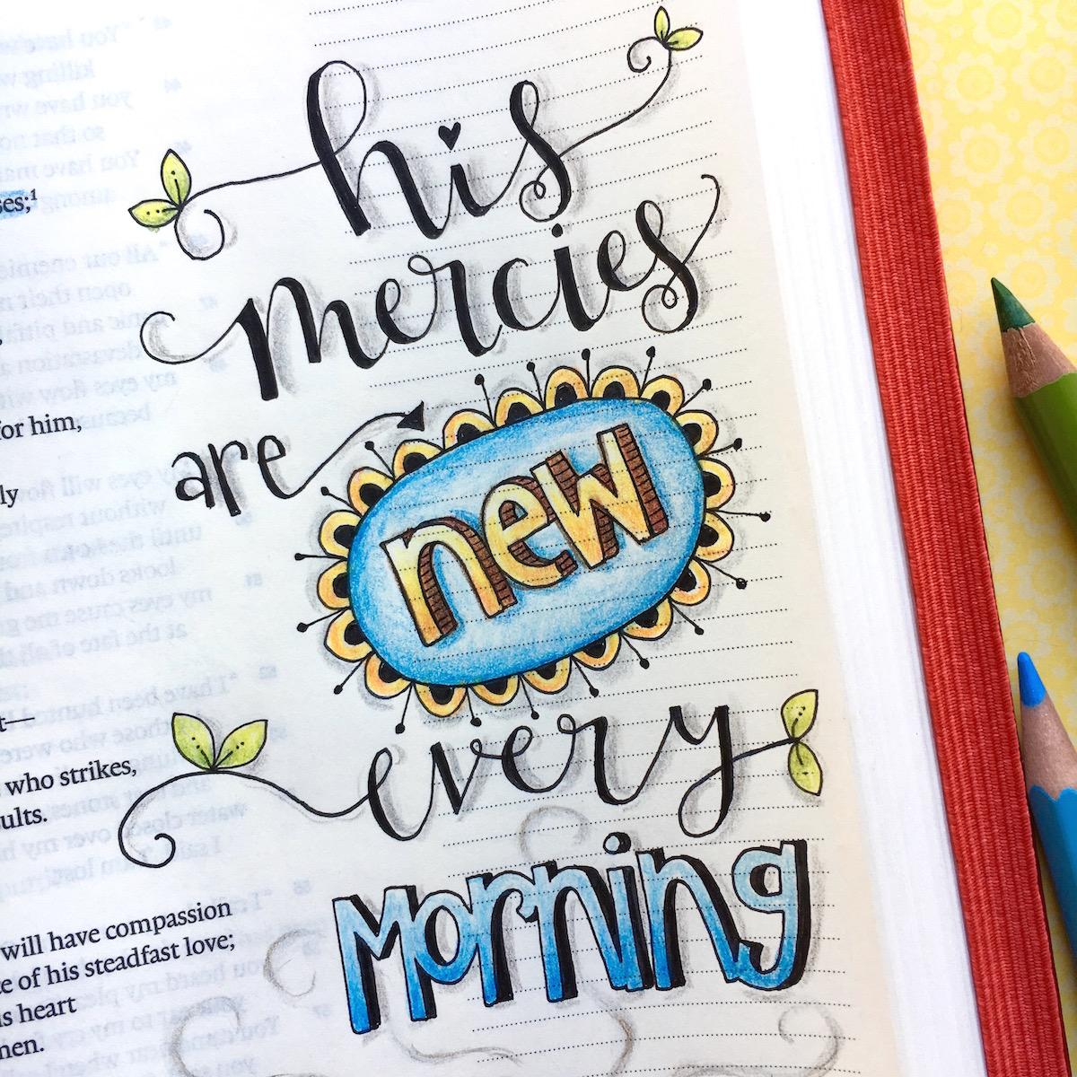 New Year New Mercies bible journaling