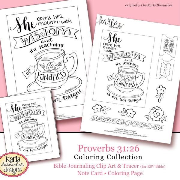 Mothers Day Proverbs 31:26 Bible Journaling Printable Coloring Collection