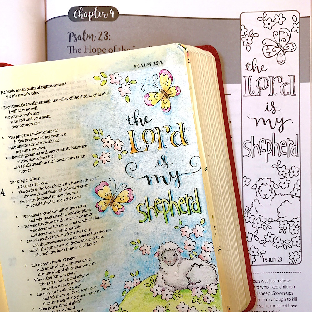 The visual imagery in Psalm 23 makes it ideal for both memorizing and for  creating scripture art in your Bible or art journal or even on a canvas.