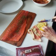 Salmon on Cedar wood