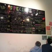 menu on wall