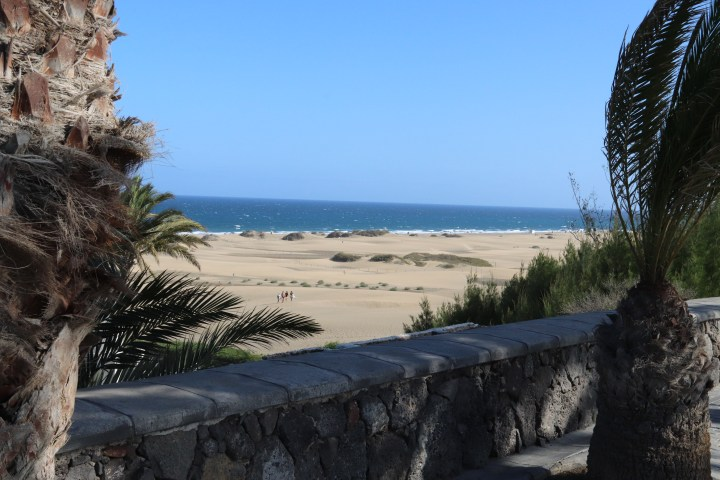 A view of the Maspalomas Sand dunes from Paseo Costa Canaria