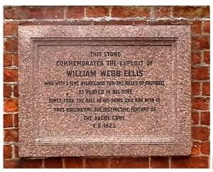 Rugby School's William Webb Ellis plaque