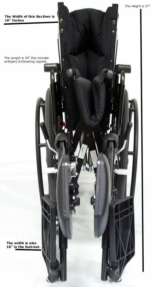 fold measuments km 5000xl lightweight reclining wheelchair