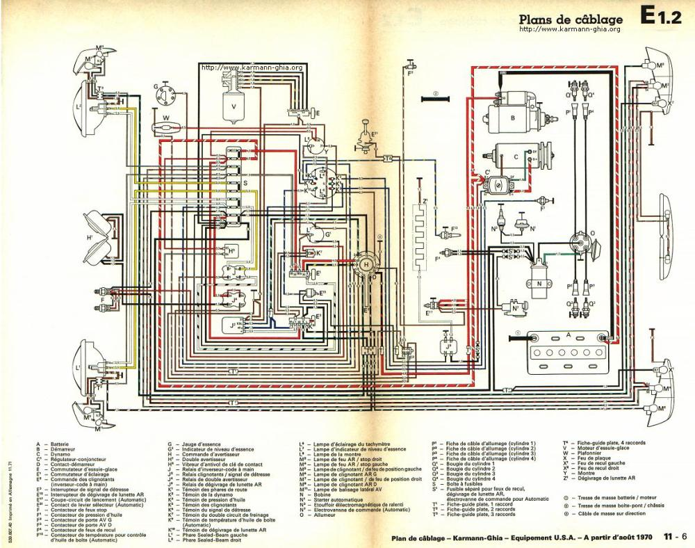 medium resolution of karmann ghia sch ma lectrique chevy van wiring diagram 1970 vw karmann ghia wiring diagram