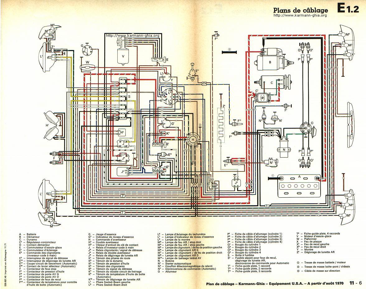 hight resolution of karmann ghia sch ma lectrique chevy van wiring diagram 1970 vw karmann ghia wiring diagram