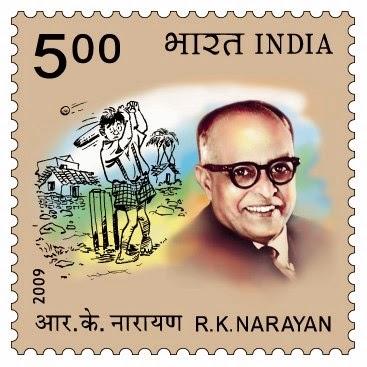 Stamp commemorating author RK Narayan