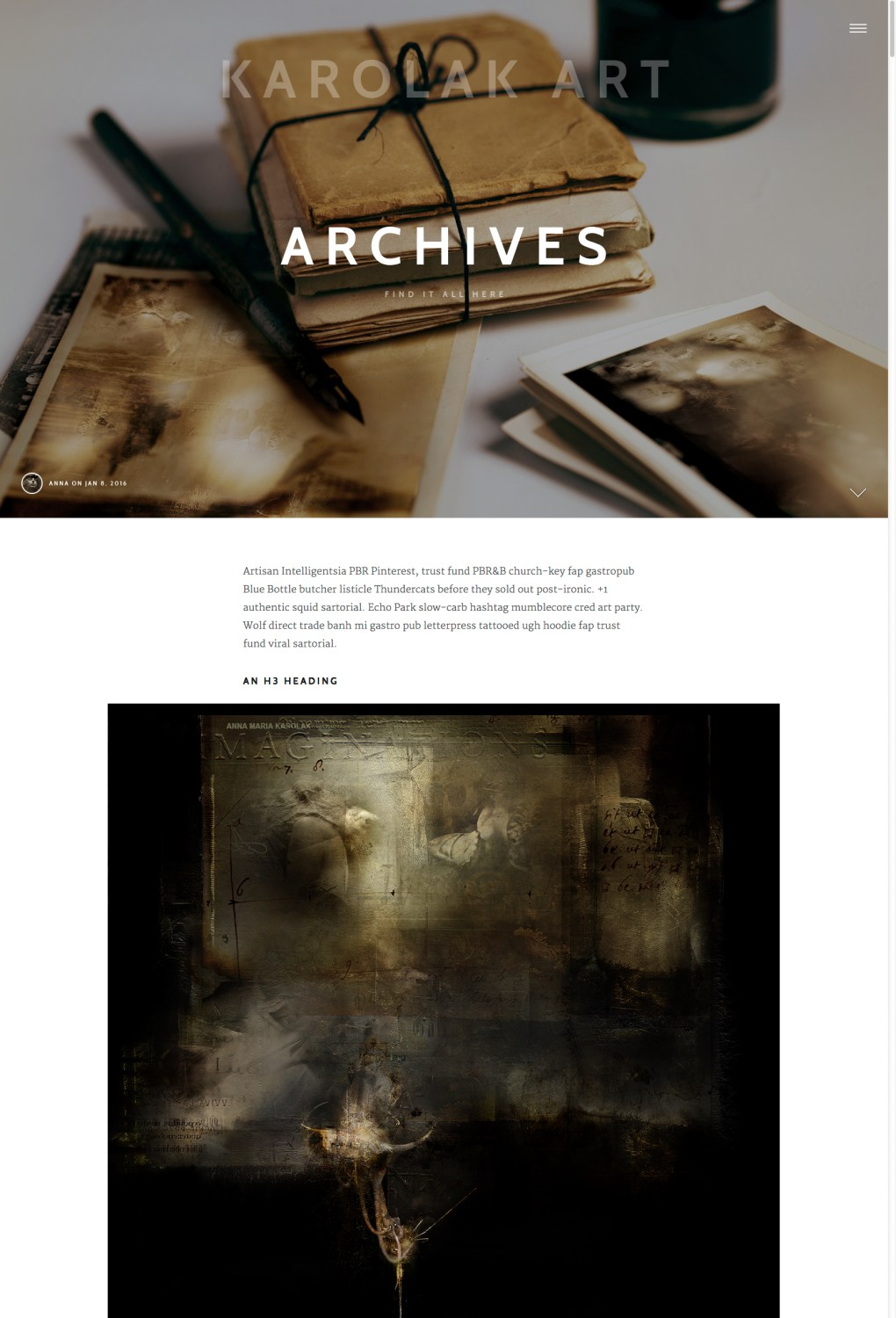 Artistic Website Layout, the Example 02: the final project of the fullscreen hero area for one of the single page of this website in 2017, the fragment. Artistic Web Design - Art Portfolio Website.