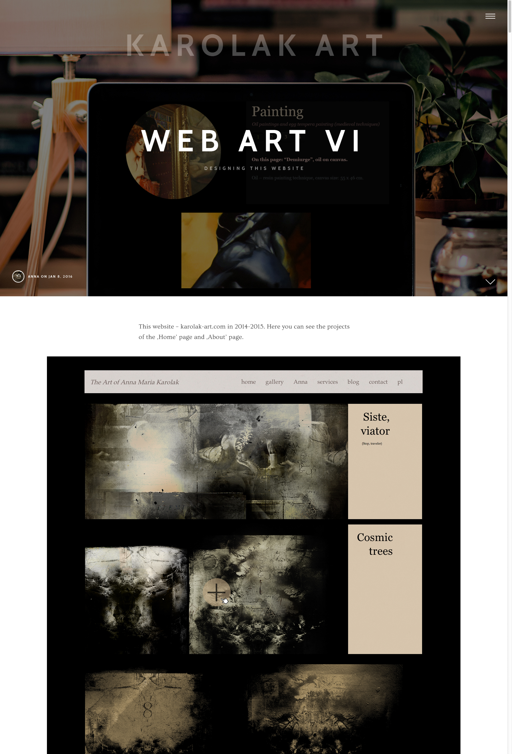 Artistic Website Layout, the Example 05: the final project of the fullscreen hero area for one of the single page of this website in 2017, the fragment. Artistic Web Design - Art Portfolio Website.