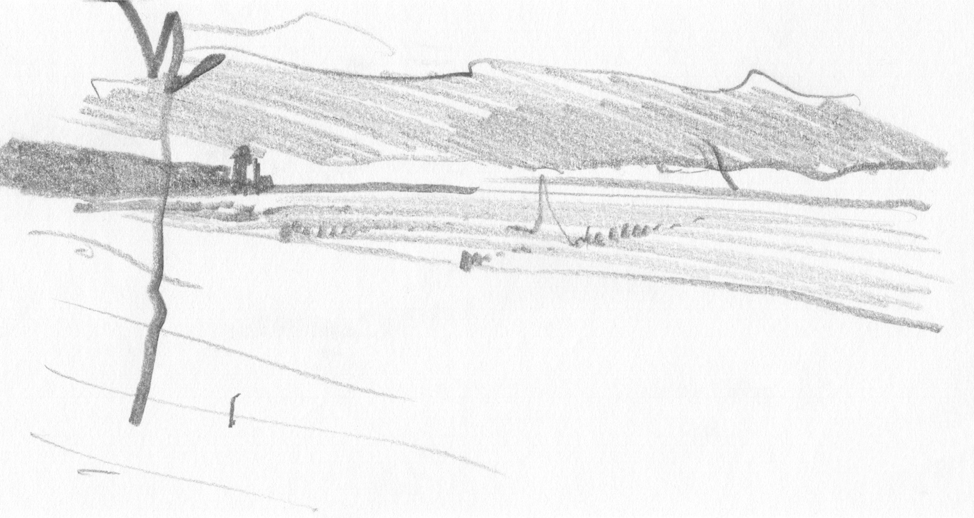 Seaside landscape: Kołobrzeg county - the Baltic Sea - Poland. Sketch, pencil drawing, 2017.