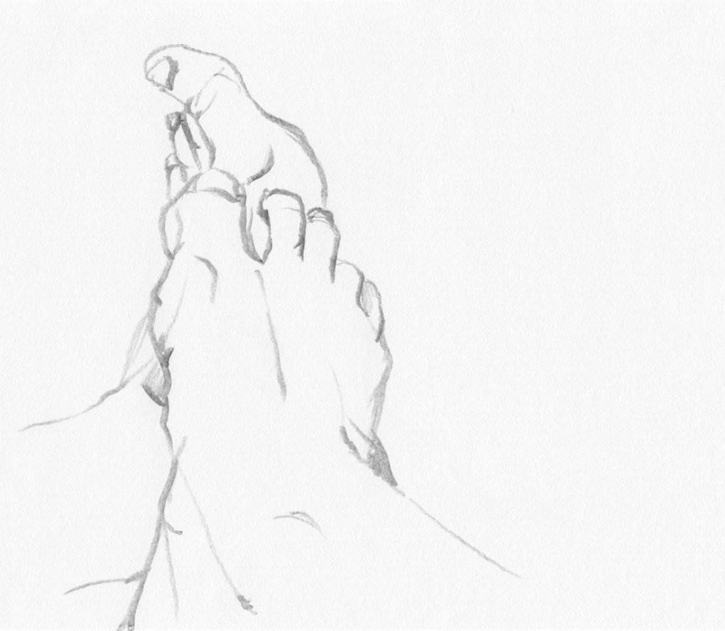 Sketches - Pencil Drawings - Figure Drawing : The sketch of my feet V, pencil drawing, 2017.