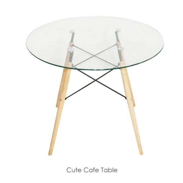 set of 2 cute cafe table wood color