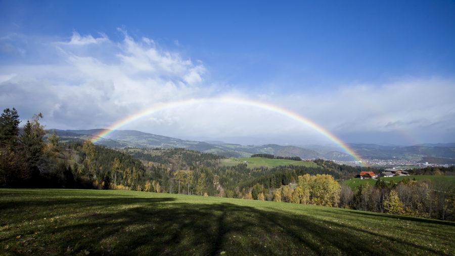 Regenbogen im Herbst über der Lipizzanerheimat - Foto: Thomas Burchhart