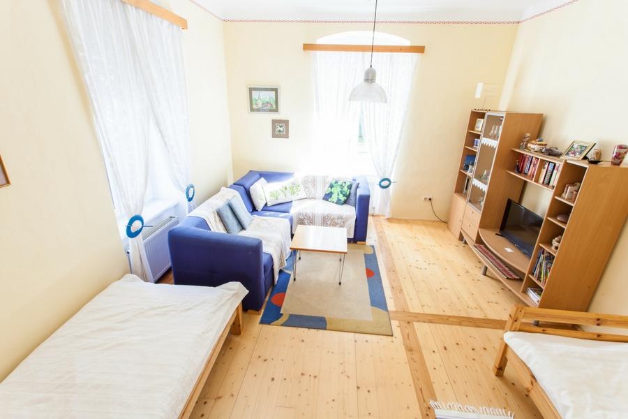 Wohnzimmer in Ferienwohnung Irene mit Sofa, TV-Gerät mit Kabel-Anschluss, 2 vollwertigen Schlafplätzen und viel Platz